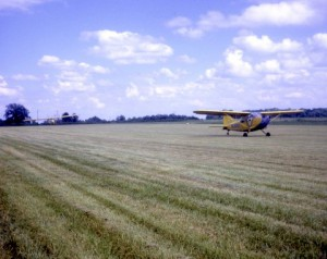 L-5 towing glider - notice the great new grass runway!