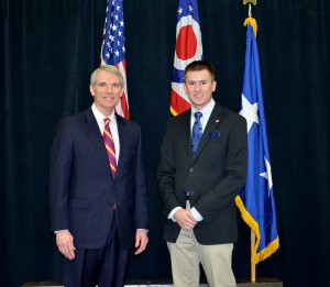 Tyler Dockum with Senator Rob Portman at ceremony announcing Tyler's appointment to US Air Force Academy